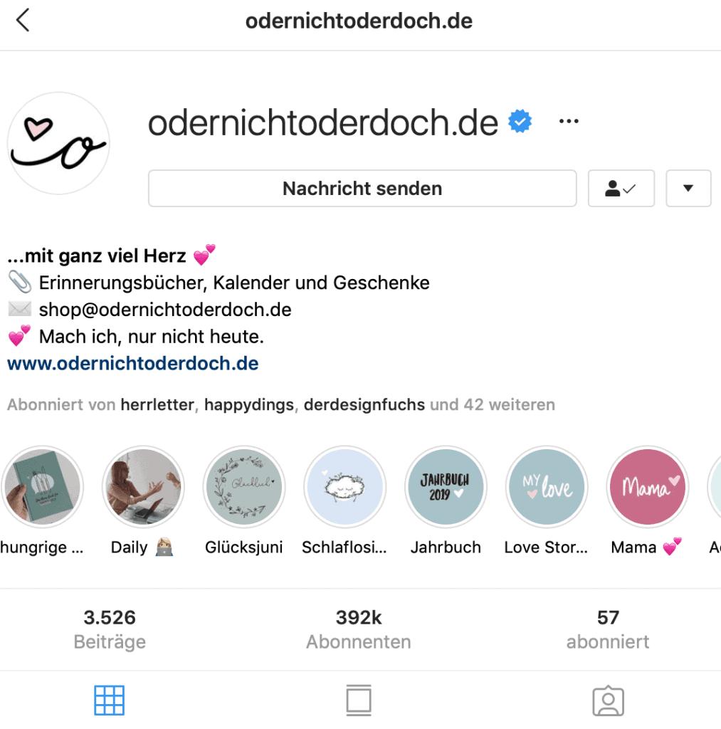 odernichtoderdoch - Beispiel für das perfekte Profilbild auf Instagram