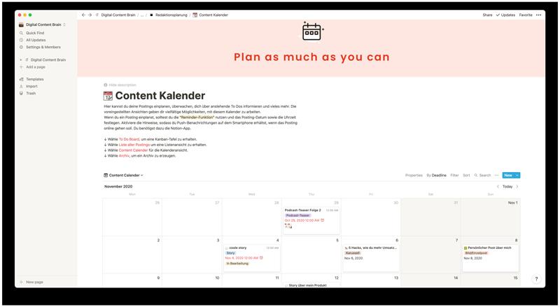 Digital Content Brain Bildschirmfoto Content Kalender