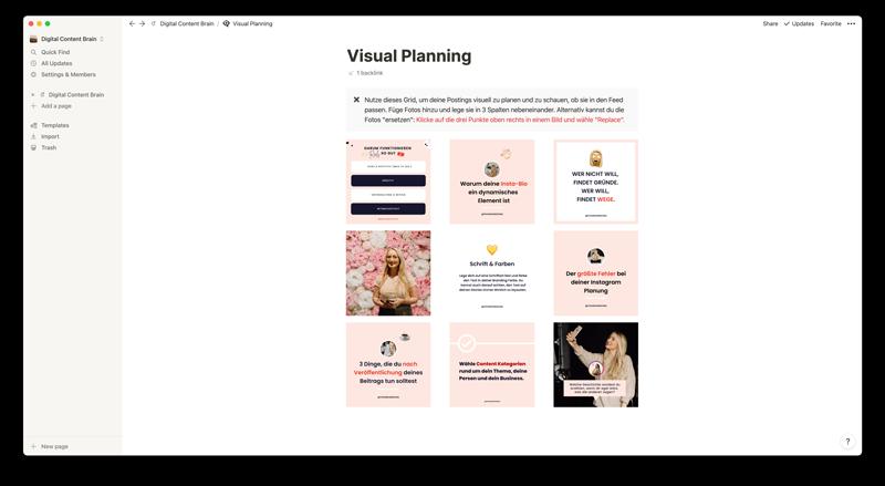 Digital Content Brain Bildschirmfoto Visual Planning