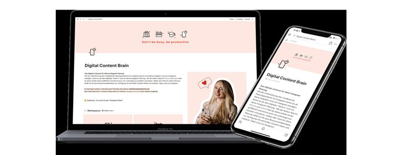 Notebook und Smartphone mit Diital Content Brain geöffnet