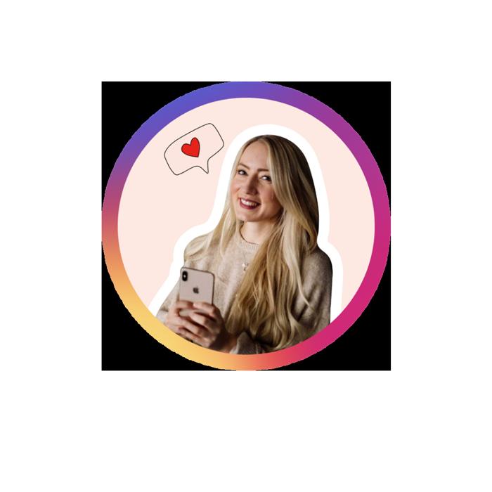 Instagram Portrait von Jessica rund mit Farbverlauf Rahmen
