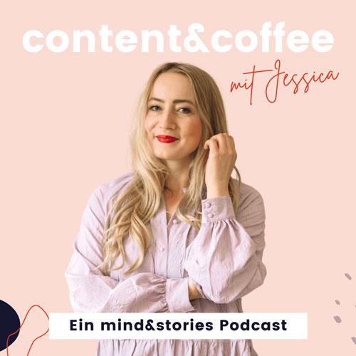 Podcast Cover mit Jessica in rosa Bluse vor grafischem Hintergrund